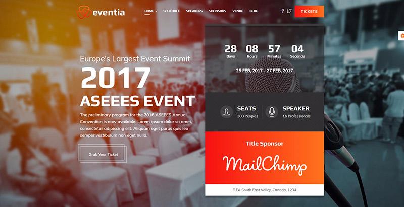 Eventia - meilleurs thèmes WordPress pour créer un site web d'évènement
