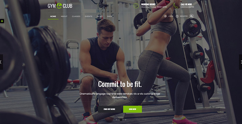 Gym themes wordpress creer site web club fitness