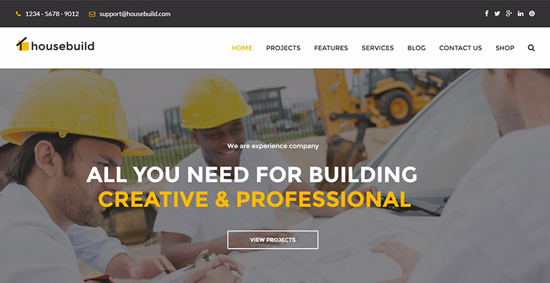 Housebuild themes wordpress creer site web entreprise construction architecte