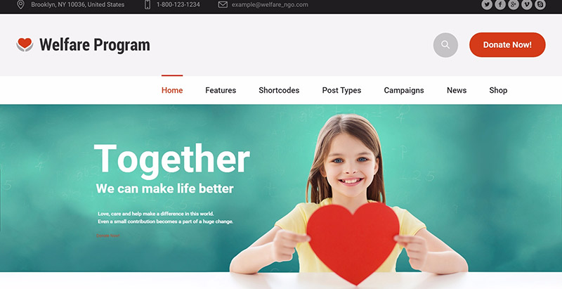 Welfare themes wordpress creer site web ong humanitaire