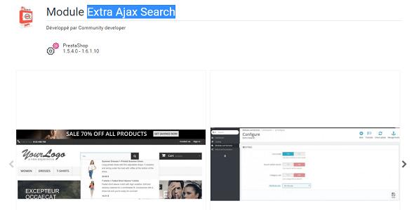 Extra ajax search plugin prestashop pour recherche