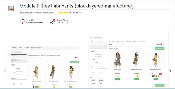 Manufacturers filters blocklayeredmanufacturer plugin prestashop pour recherche 1