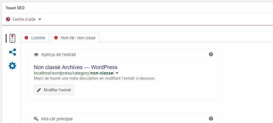 Modification des mots clés des catégories sur wordpress avec yoast seo