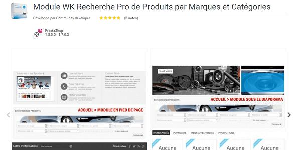 Wk search products pro by brands categories plugin prestashop pour recherche