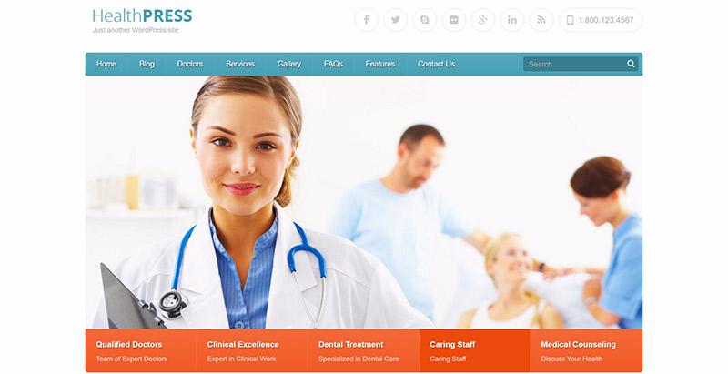 thèmes WordPress pour créer un site web de dentiste - Healthpress