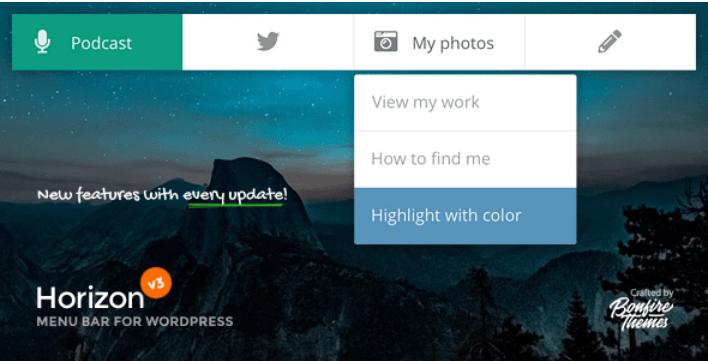 Horizon menu bar plugin for wordpress