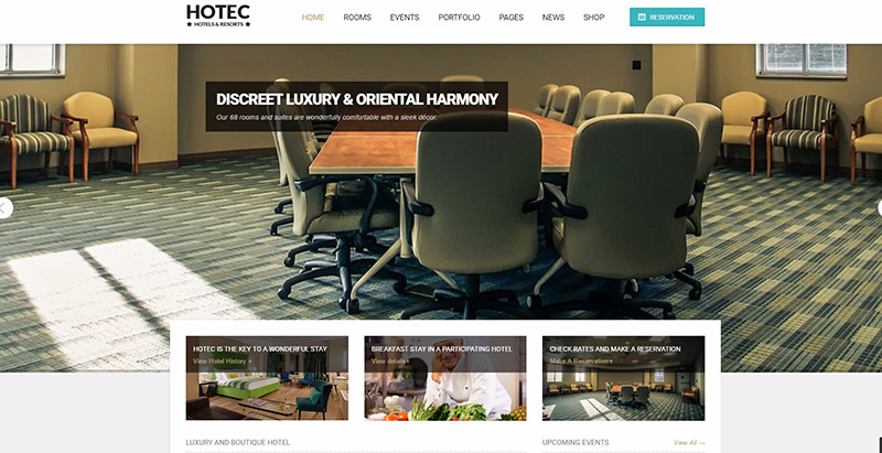 Hotec themes wordpress creer site web hotel blogpascher for Site web pour hotel