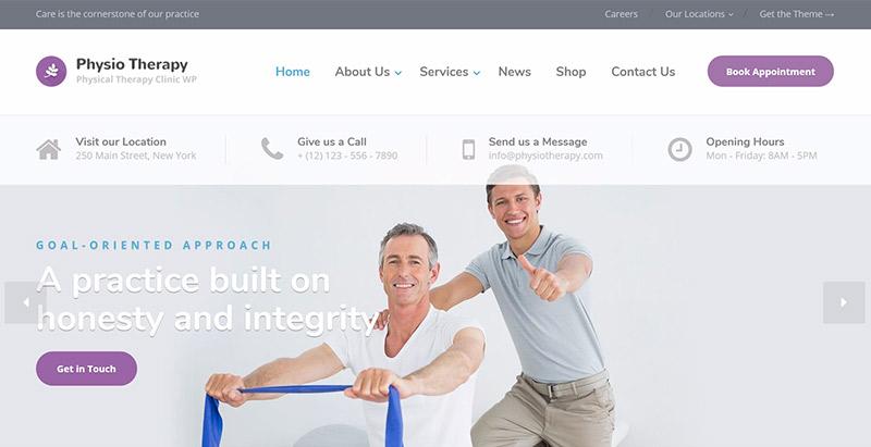 Physio themes wordpress creer site web clinique hopital centre sante dispensaire