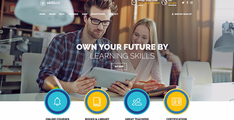 Skilled themes wordpress creer site web elearning education enseignement apprentissage