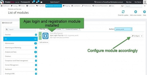 Ajax login and registration plugin prestashop pour authentification