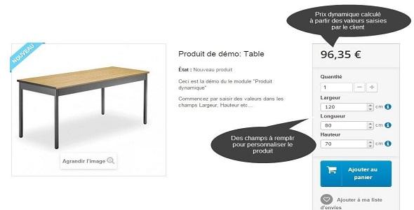 Dynamic product price plugin prestashop pour personnalisation produit