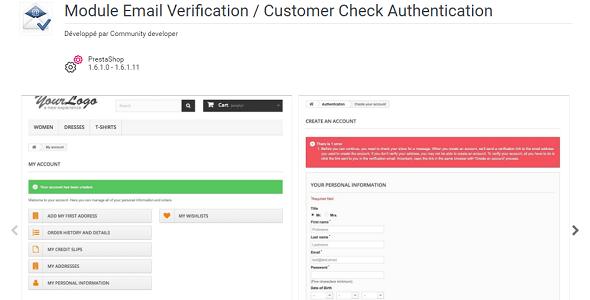 Email verification customer check authentication plugin prestashop pour authentification