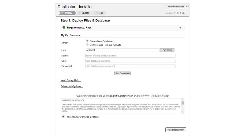 Installation duplicator wordpress