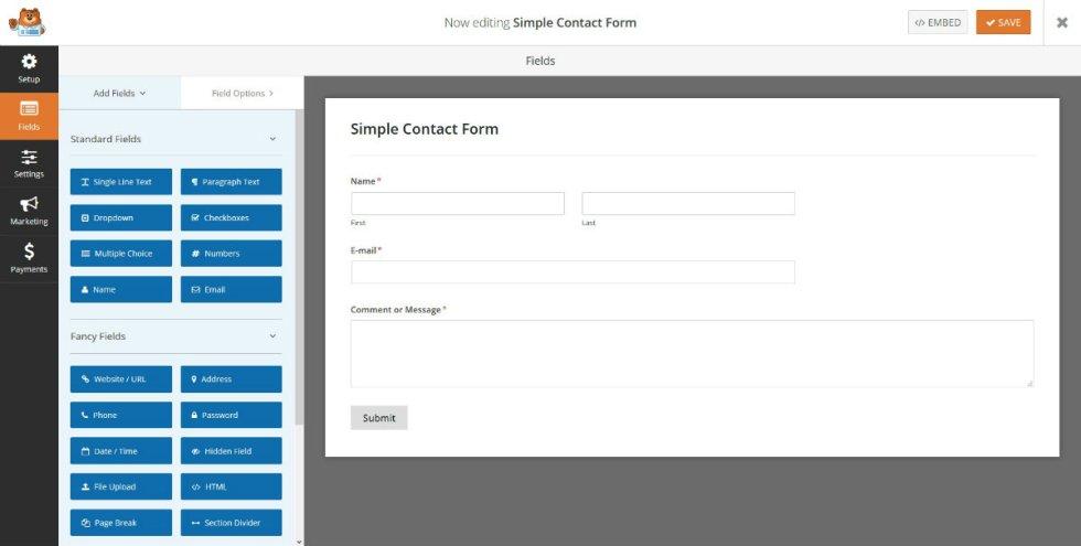 Simple formulaire de contact wpforms