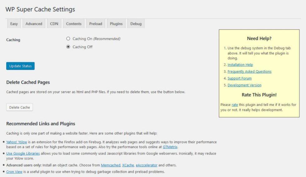 Wp super cache page doptions