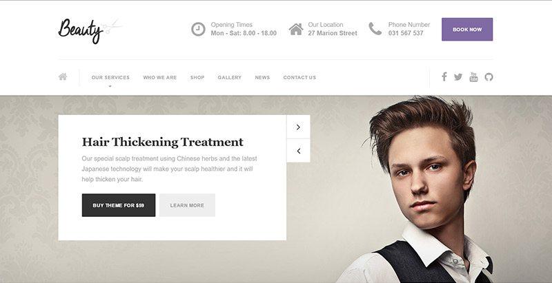 Beauty themes wordpress creer site web salon coiffure beaute spa