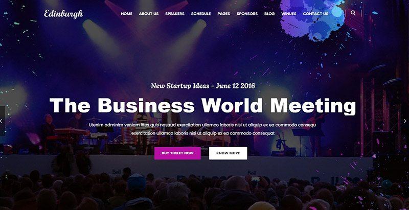 Edinburgh- thèmes WordPress d'évènement pour créer un site Web