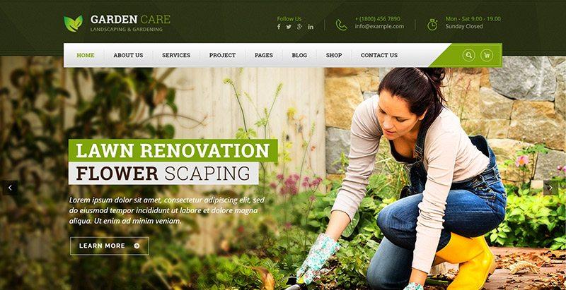 Th mes wordpress pour site web d 39 entreprise de jardinage for Entreprise jardinage