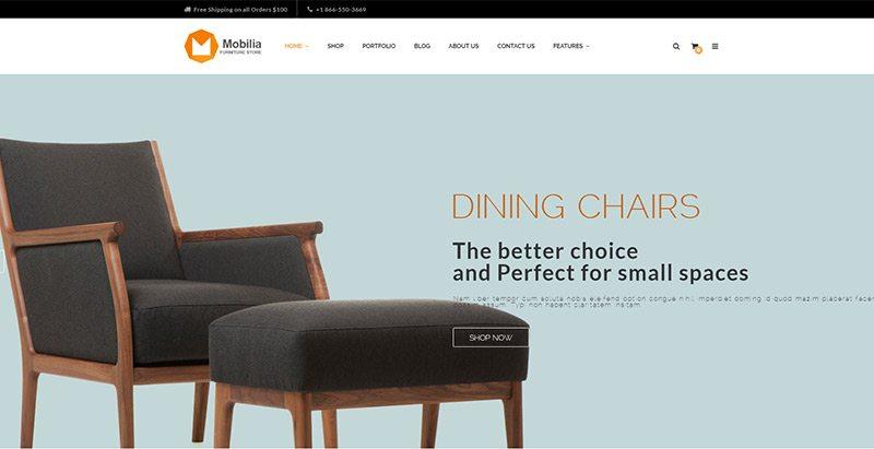 thèmes WordPress pour créer un site web de vente de meubles - Mobilia