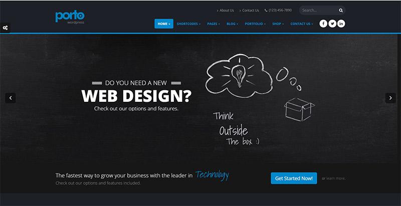 Porto 10 thèmes wordpress au style sombre pour créer un site web