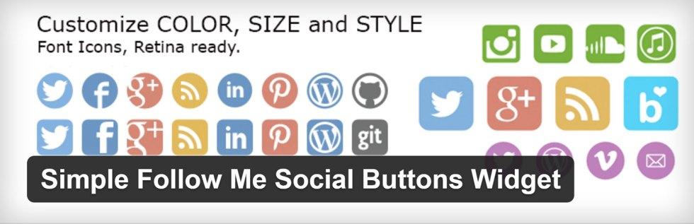 Simple boutons follow me social widget