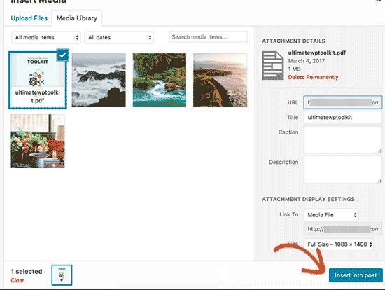 Aperçu pdf WordPress