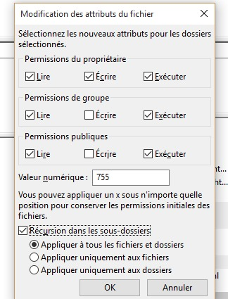 Autorisation fichiers filezilla