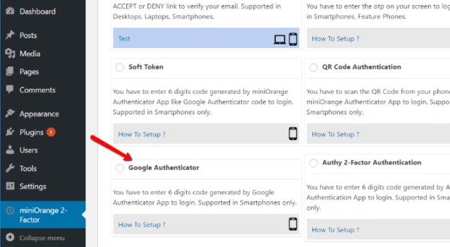 Configuration google authentification double facteur