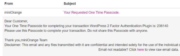 Email dauthentification miniorange wordpress