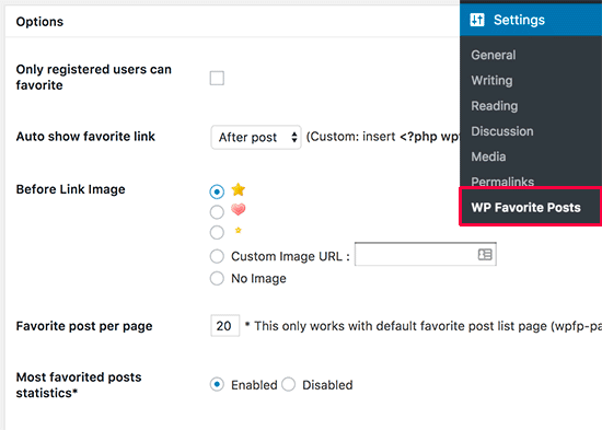 Favorite posts wordpress