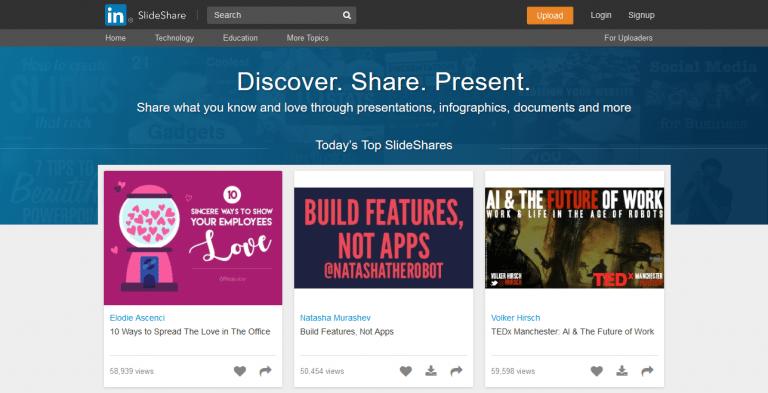 Partage de contenu sur slideshares