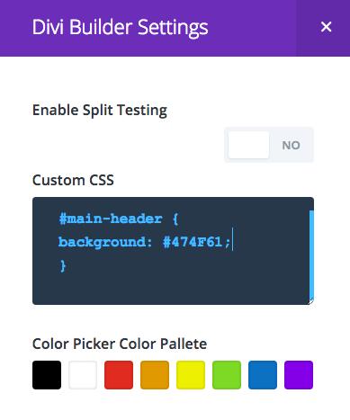 Personnalisation des couleurs réglages divi