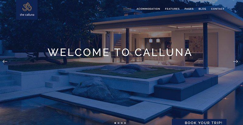 Calluna themes wordpress creer site web hotel motel restauration evenement