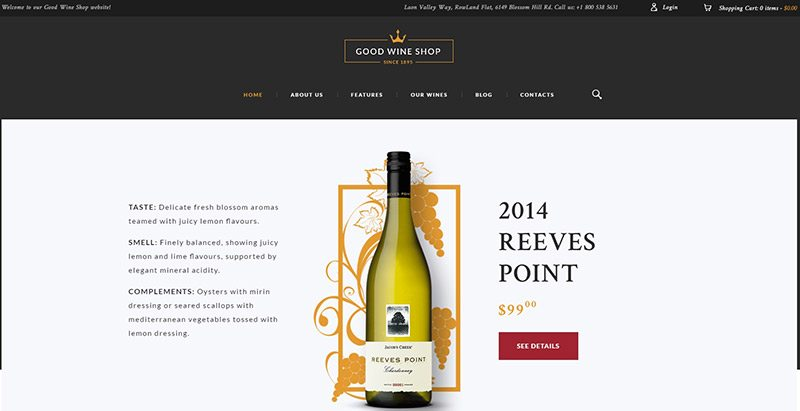 meilleurs thèmes WordPress pour créer une boutique en ligne de vins - Good wine shop