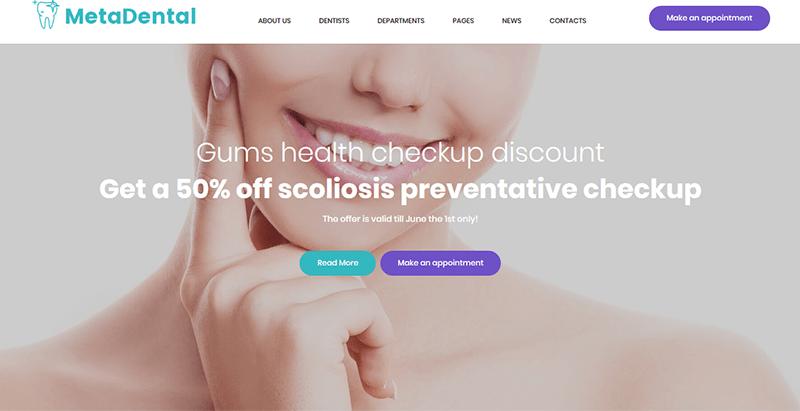 Metadental thème wordpress creer site web clinque hopital medecin