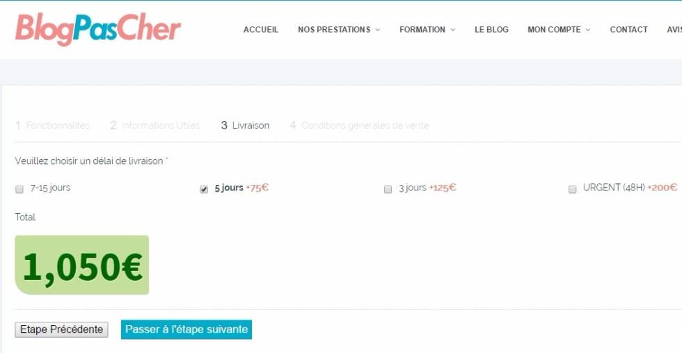 Choix de livraison blogpascher