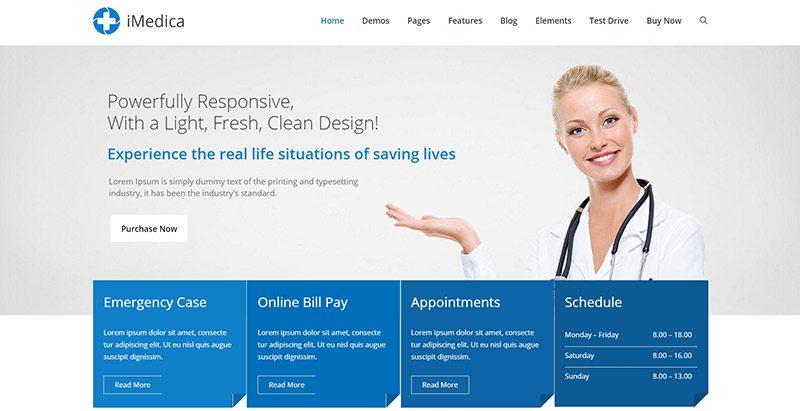 Imedica themes wordpress creer site web etablissement sanitaire hopital clinique