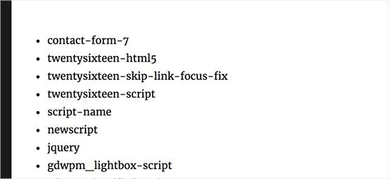 Poignes des scripts wordpress