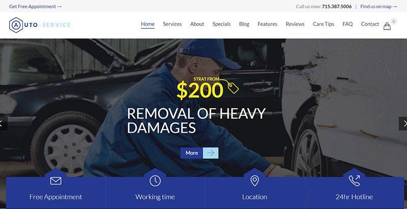 Auto repair themes wordpress creer site web concessionnaire voitures mecanicien vente achat vehicules