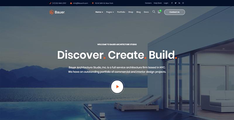 Bauer theme wordpress créer site web entreprise renovation construction