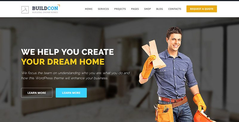 Buildcon themes wordpress creer site web entreprise renovation construction reparation