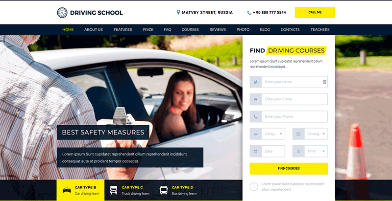 Driving school thème wordpress