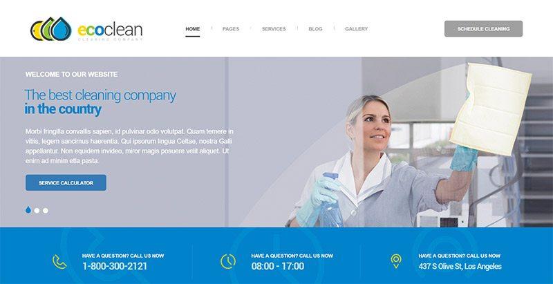 Ecoclean themes wordpress creer site web entreprise nettoyage technicien surface