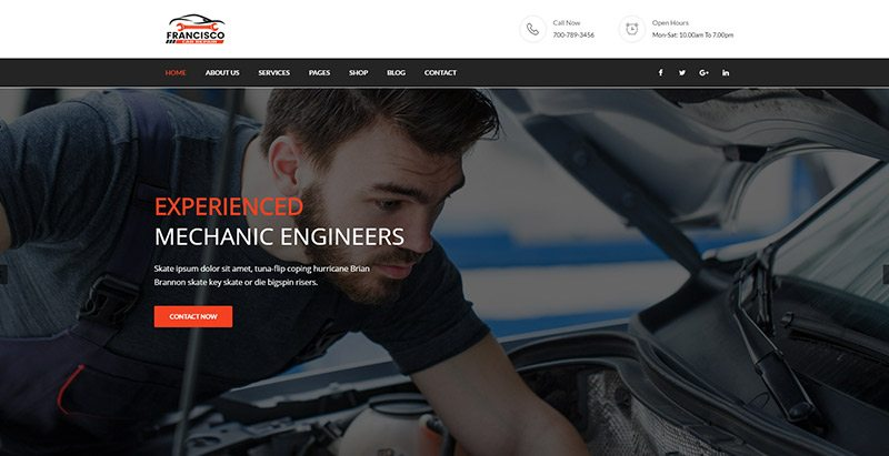 Francisco themes wordpress creer site web concessionnaire voitures mecanicien vente achat vehicules