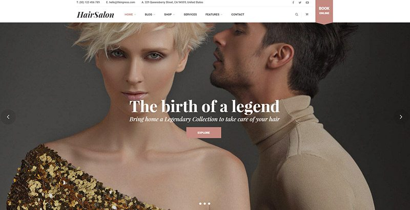 Hairsalon themes wordpress creer site web salon coiffure beaute entreprise pme