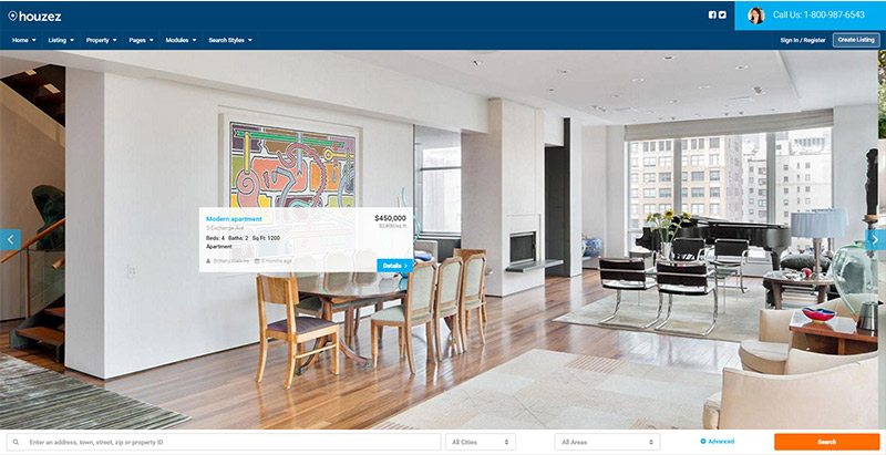 Houzez themes wordpress creer site web vente achat maisons appartements loyer location