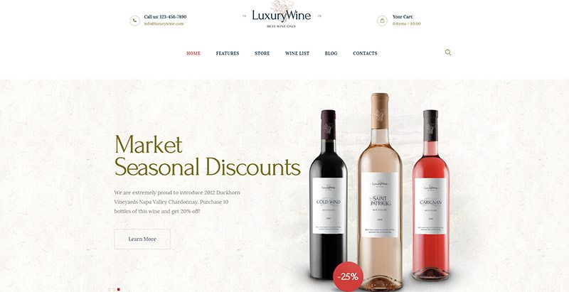 Luxury wine themes wordpress creer site web vente vin vigne vigneron ecommerce