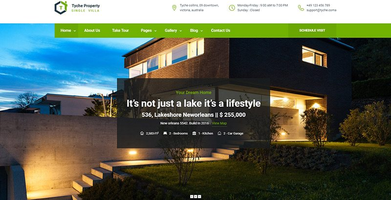 Tyche themes wordpress creer site web vente appartement villa maison