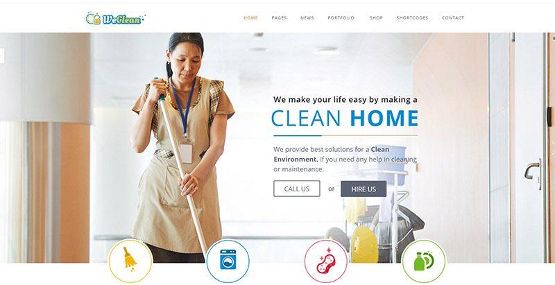 Weclean themes wordpress creer site web entreprise nettoyage technicien surface
