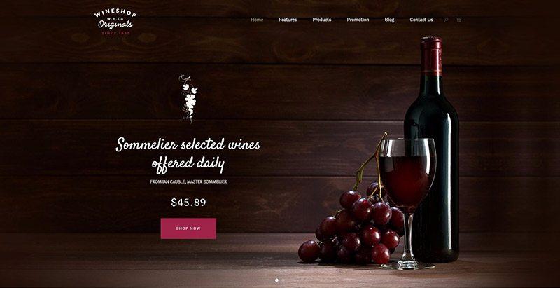 meilleurs thèmes WordPress vente en ligne de vin - Wineshop wine